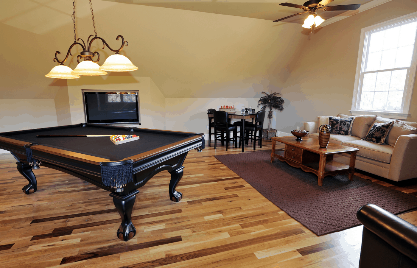 how to put a rug under an existing pool table