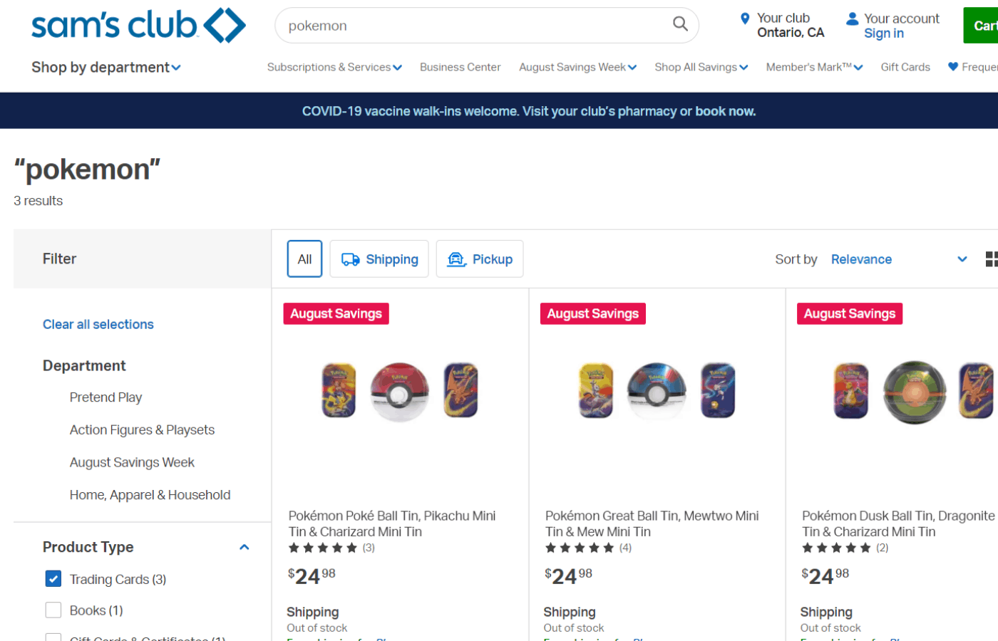 Does Sam's Club Sell Pokemon Cards