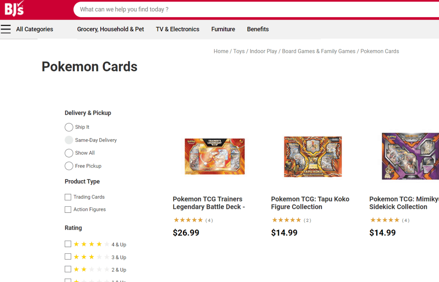 does bjs sell pokemon cards